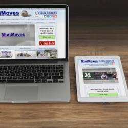 Minimoves Cheltenham, Responsive web design, working on laptop, tablet and smart phone.