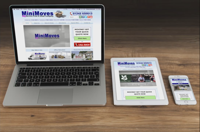 Minimoves Cheltenham, Responsive web design, working on laptop, tablet and smart phone.