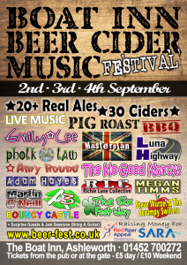boat inn ashleworth beer cider and music festival poster design