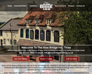 Preview of the Haw Bridge Pub Website Design